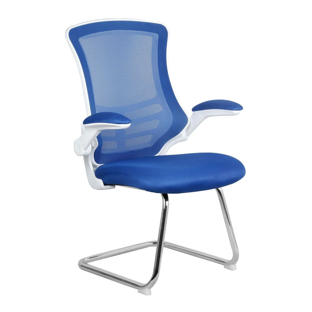 Luna Medium Back Meeting Chair. White Frame Vibrant Colour Choice Eliza Tinsley